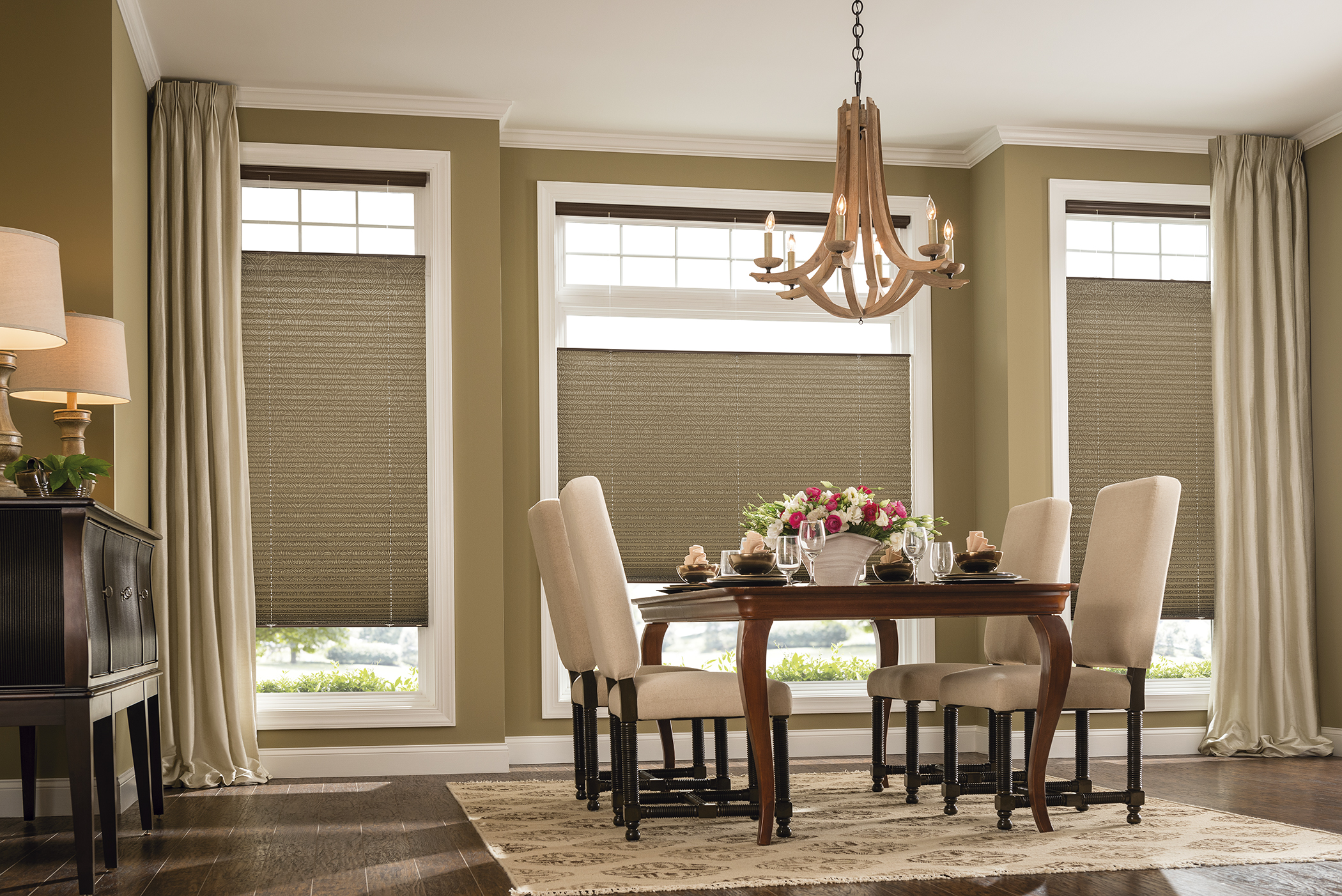Graber Pleated Drapery and Shades in Dining